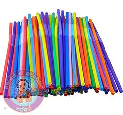 100 Kismos Assorted Flex Straws