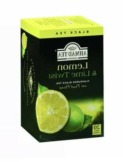 New !  20 Foil Tea bags Ahmad Tea  Lemon & Lime Twist Black