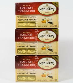 3 boxes= 60 bags Twinings English Breakfast HONEY & VANILLA