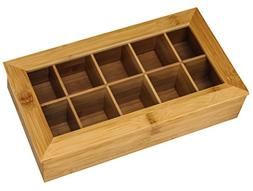 Bamboo Tea Box Storage Organizer, 100% Natural Wooden Finish