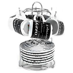 Black and White Porcelain 13 Piece Espresso Rack and Cup Set