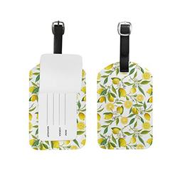 Blossoming Lemon Tree Sling PU Leather Luggage Tag Label Sui