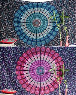 Set of 2 Bohemian Mandala Tapestry Wall Hanging Hippie India