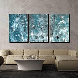 wall26 - 3 Piece Canvas Wall Art - Teal and Grey Abstract Ar
