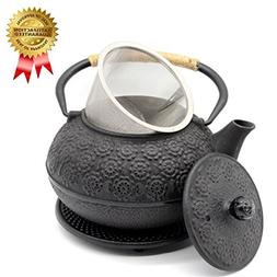 OMyTea Cast Iron Teapot with Infuser and Trivet, Japanese Te
