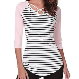 Women Casual O-Neck Blouse Ladies Stripe Three Quarter Sleev