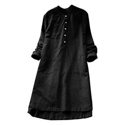 Clearance!Youngh 2018 New Womens Dress Plus Size Solid Vinta
