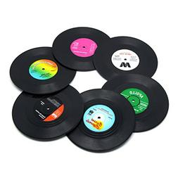 DuoMuo Coaster Vinyl Record Disk Coasters for Drinks - Table