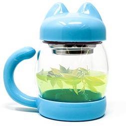 Cute Cat Tea Mug Cup – With Strainer/Infuser - Cat Lover G