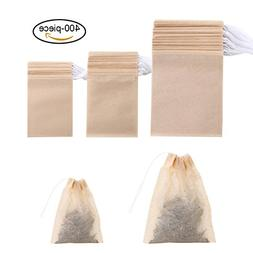 400 Pack Disposable Drawstring Tea Filter Bags Safe & Natura