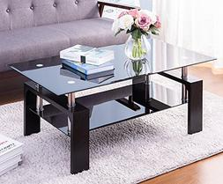 a940226c57e Merax Distinctive Design Coffee Tea Table with 2-tiers Glass