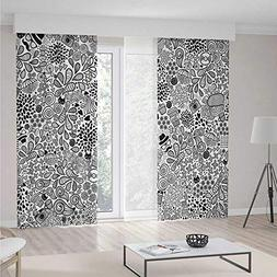 iPrint Doodle Blackout Curtains,Hipster Inspired Abstract Dr