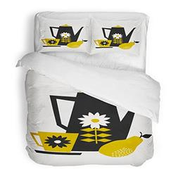 SanChic Duvet Cover Set Mid Century Style of Coffee Pot Cup