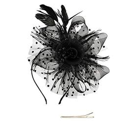Fascinators Hat Flower Mesh Ribbons Feathers on a Headband a