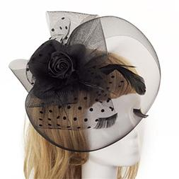 SUKEQ Fascinators Hat with Flower Mesh Ribbons Feathers on a