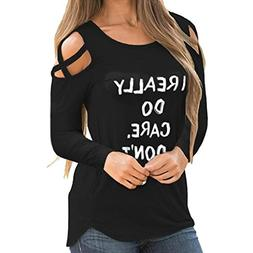 I Really Dont Care Do u Women Printed Blouse Summer Long Sle