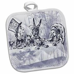 3dRose Image of Mad Hatters Tea Party in Vintage Pot Holder