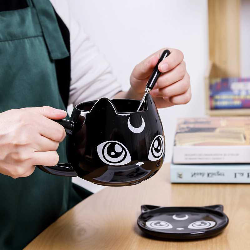 2019 Creative <font><b>Black</b></font> Cat Mugs <font><b>Breakfast</b></font> Cartoon Cups Office <font><b>Tea</b></font> Mug with Tray