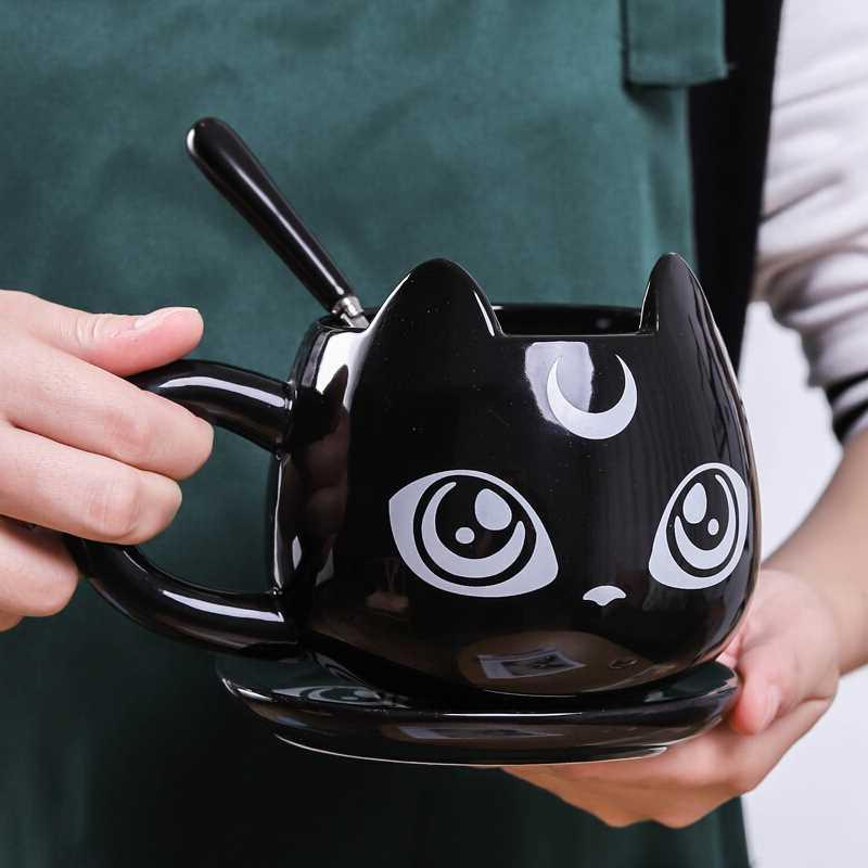 2019 New Creative <font><b>Black</b></font> Cat <font><b>Breakfast</b></font> Cartoon Office <font><b>Tea</b></font> Mug Tray