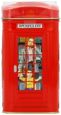 Ahmad Tea 25 Teabag Caddy Gift Tin, London Telephone Box, En