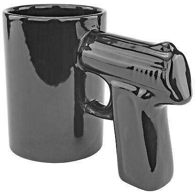 Black Hand Gun Coffee Tea Beverage Novelty Mug Pistol Grip J