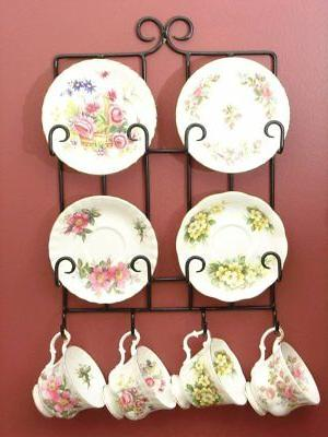 Black Tea Cup Rack, Hangs on the wall, Hold 4 Sets of Cups