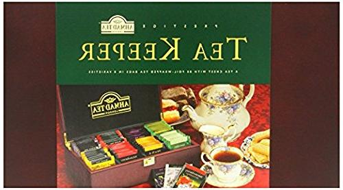 Ahmad Tea Keeper Wooden Box With 80 Count Assorted