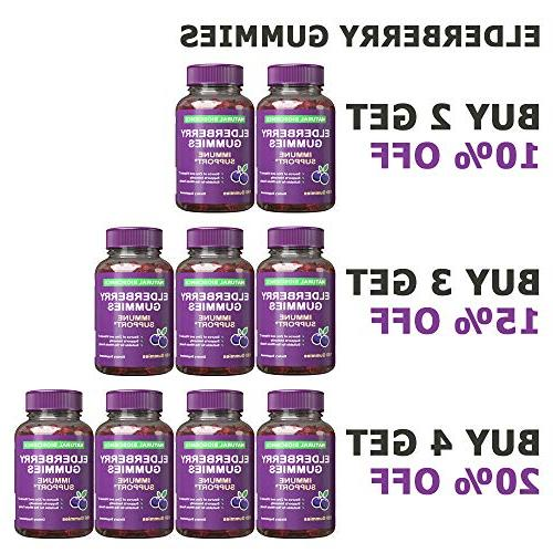 Sambucus Elderberry Gummies Family Size, Children & Vitamin Black Extract, Natural Herbal with Pectin, Support, Great Taste