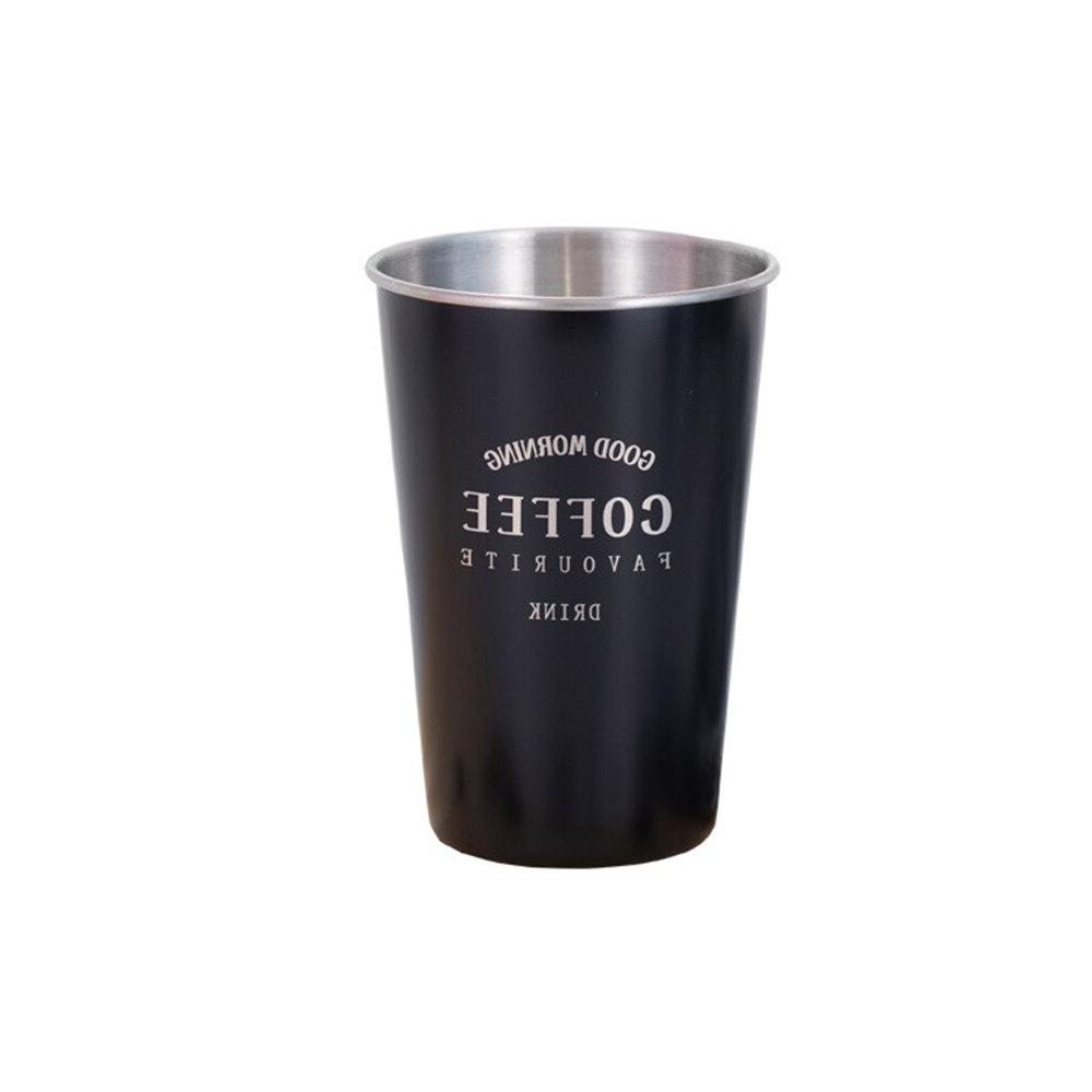 Stainless Coffee Simple <font><b>Black</b></font> <font><b>Breakfast</b></font> Milk Cups Office Drinkware 450ml