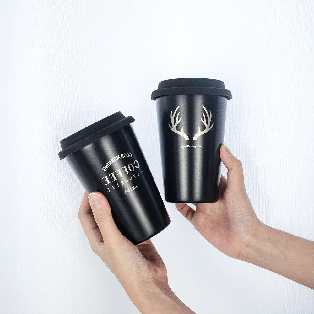 Stainless Steel Mug Simple Letter <font><b>Black</b></font> Milk Mug Cups Home Office Drinkware