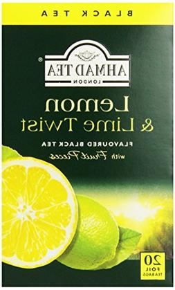 Ahmad Tea Lemon & Lime Twist Black Tea, 20-Count Boxes