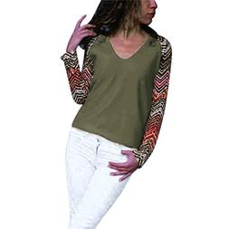 Women Long Sleeve Blouse, Women's Casual V-Neck Geometric Pr