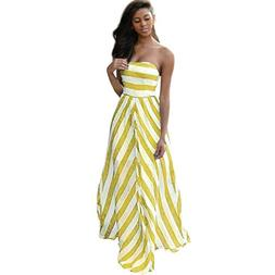 Women Long Dress Daoroka Vintage Summer Off Shoulder Striped