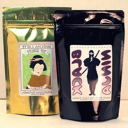 Matcha Green Tea Latte Powder 8oz bag + Black Ninja Tea Latt