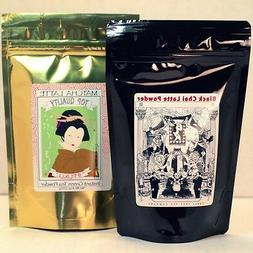 Matcha Green Tea Latte Powder 8oz bag + Black Chai Latte Pow