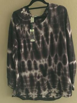 NEW Women Black Plum & White Tie Dye Sweatshirt Shirt Soft X