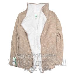 New Women's Green Tea Heather Sherpa Wrap Cardigan Denim Kha