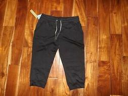 NWT Womens GREEN TEA Black Drawstring Jogger Capris Size L L