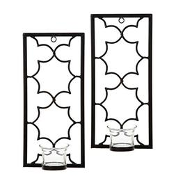 "Hosley Set of Two, 11"" High Iron Tea Light LED Candle Wall S"