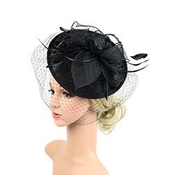 LATIMOON Sinamay Fascinators Feather Flower Derby Hat Pillbo