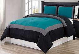 Grand Linen 3 piece TEAL BLUE/BLACK/GREY Goose Down Alternat