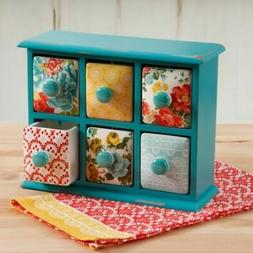 The Pioneer Woman Vintage Floral Flower 6-Drawer Spice Tea Box Turquoise Blue
