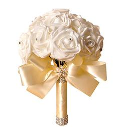 ZTTONE Wedding Bouquet, Holding Flowers Crystal Roses Pearl