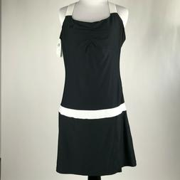 Wilson Women Black White Tea Lawn Tennis Dress sz L NWT