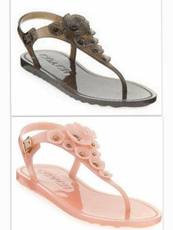 Coach Women's Tea Rose Jelly Shoes Thong Sandals Pink or Bla
