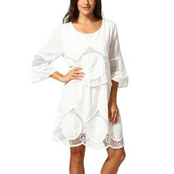 Women Fashion Dress, SanCanSn Plus Size White Lace Embroider